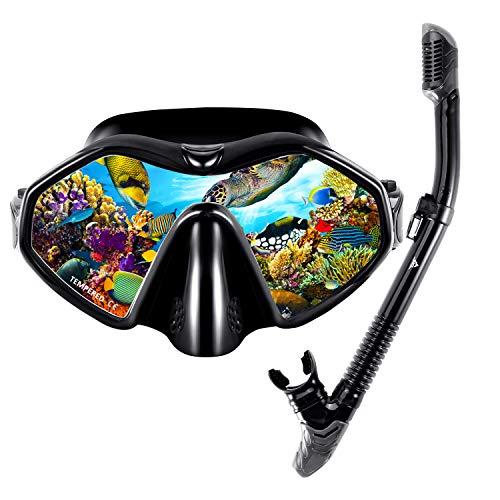 SKL Schnorchelset Taucherbrille mit Schnorchel für Erwachsene Professionelle Schnorchelbrille Erwachsene Schnorcheln Tauchmaske Gehärtetes Glas (180°, Schwarz 180°)
