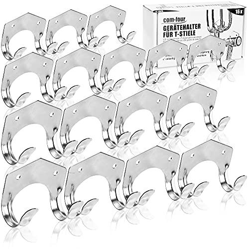 com-four® 16x Porte-Outils en tôle d'acier de 1 mm - Support Mural pour Outils de Jardin avec poignée en T (Support - 16 pièces)