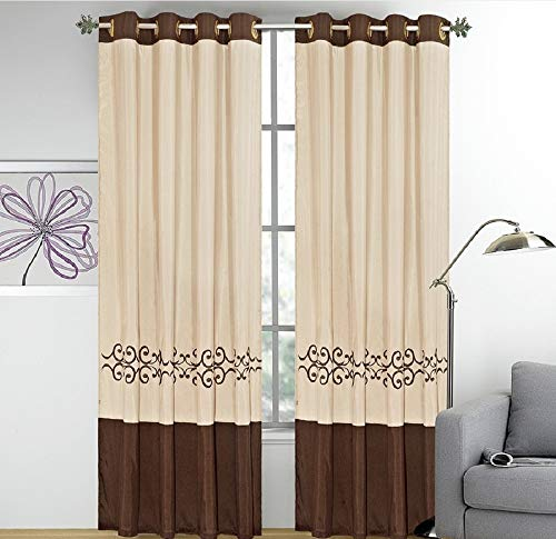 WPM WORLD PRODUCTS MART 2 Pieces Curtain Set Beige Brown Gold Luxury Embroidery Panels Grommets Drapes- Yasmen (Curtain Set)