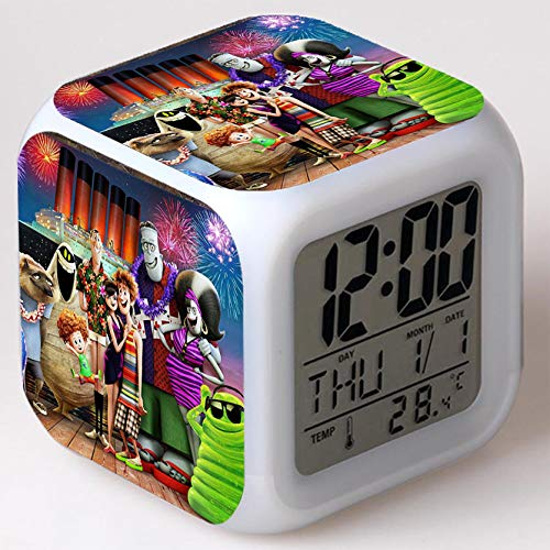 Kids Wizard Hostel Alarm Clocks Kids LED Clock Cartoon Night Light Flash 7 Color Changing Digital Clock Electronic Desk Clock a30