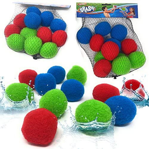Wasserbomben Bälle Set Splash - Wiederverwendbare Wasserballons XXL Bomben | Ball für Kinder ein Spiel für Wasserspaß | Schwamm Ball Plüschbälle Wasser Waterbomb (24 Stk.)