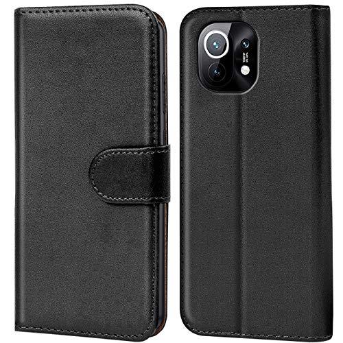 Verco Handyhülle für Xiaomi Mi 11 Hülle, Bookcase Tasche Flipcover für Mi 11 5G Hülle [Kartenfächer/Aufstellfunktion], Schwarz