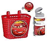 3tlg Disney Cars Kinder Fahrrad Lenker Korb + Sport Trinkflasche + Klingel Glocke SET