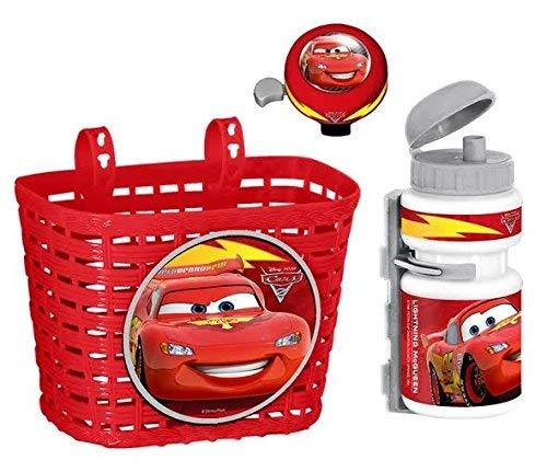 Cars 3tlg Disney Kinder Fahrrad Lenker Korb + Sport Trinkflasche + Klingel Glocke Set