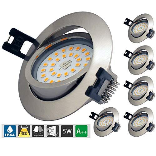 LED Einbaustrahler Dimmbar ip44 ultra flach, 6 * 5W LED Modul 230V 500LM Schwenkbar rund Warmweiß 3000K einbaustrahler boden für Deckenspots Wohnzimmer, badeinbaustrahler