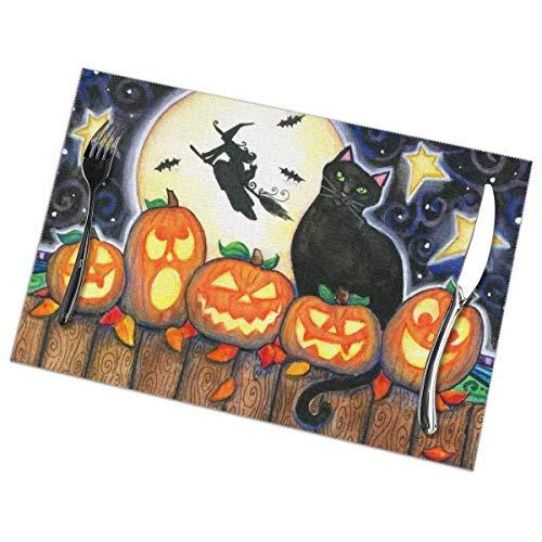 Singledog Hexenbesen schwarzer Halloween-Katzenkürbis themenorientiertes Set von 6 Tischsets Tischmatte