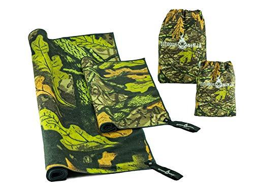 OUTDOOR NINJA Mikrofaser Outdoor Handtuch 2er Set Dry&Seek 3D Woodland Tarnmuster perfekt für alle Outdoor Hobbys Angeln Bushcraft
