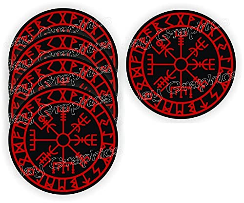 5 Pack - Cool Stickers Viking Compass Stickers | Vegvisir | Celtic Nordic Norse | Hard Hat Sticker Decal