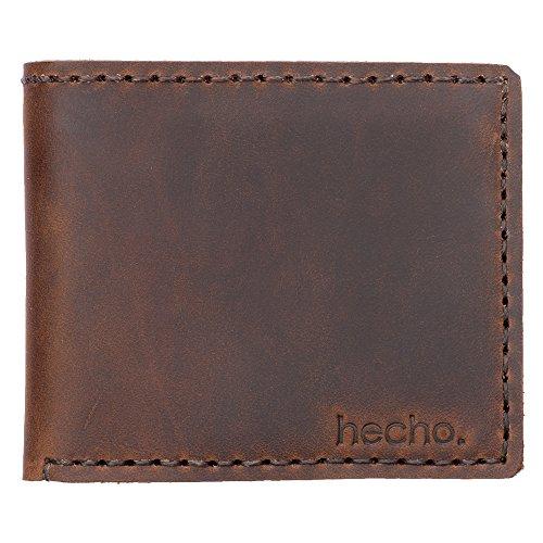 hecho. Geldbörse Antonio (Dark Wood) für Karten, Scheine und Kleingeld - Handgefertigt, Leder & Fair-Trade (Herren, Portemonnaie, Brieftasche, Kleingeldbörse)