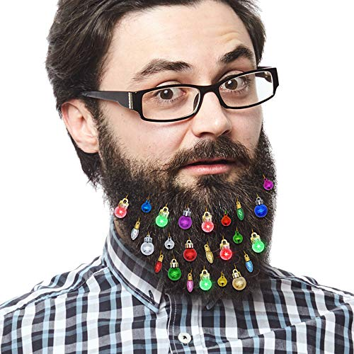 JOYIN 24pcs Beard Ornaments, 6 Light Up, 6 Jingle Bells and 12 Colors of Christmas Baubles, Great Gift Idea for Beardaments