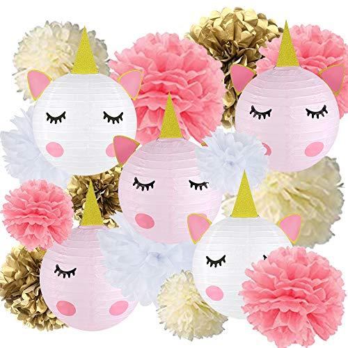 18 pcs Unicorn Birthday Party Decorations - 12pcs Tissue Paper Pom Poms,6pcs Unicorn Paper Lanterns with Glitter Horn Ears Eyelashes for Unicorn Baby Shower Birthday Party Supplies(DIY)