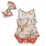 sunnymi  ® 0-24 Monate Baby Strampler + Stirnband Jungen Mädchen Floral Quasten Bodysuit Outfits Set
