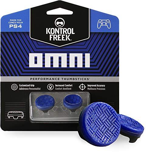KontrolFreek Omni para PlayStation 4 (PS4) y PlayStation 5 (PS5) | Performance Thumbsticks | 2 Alturas bajas, cóncavo | Azul.