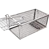 Lulu Home Mouse Trap, Humane Live Mouse Cage Trap for Mice, Rats, Silver (One-Door Small)