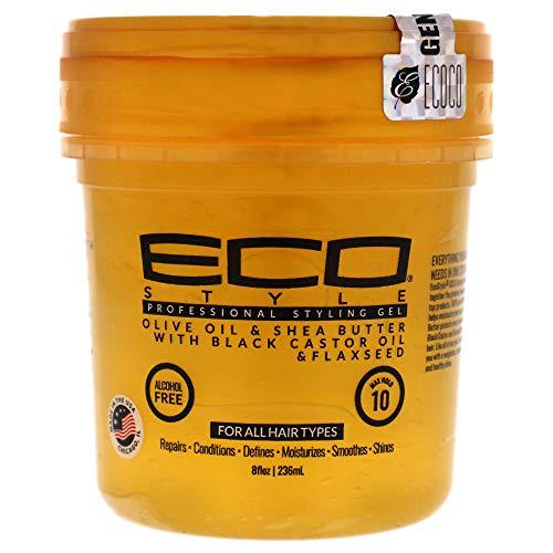 [Neue 1 Stück] Eco Styling Kunststoff Gold Version W Olive, Shea Butter, schwarz Lenkrolle, und Leinsamen Öl 8ounce EA