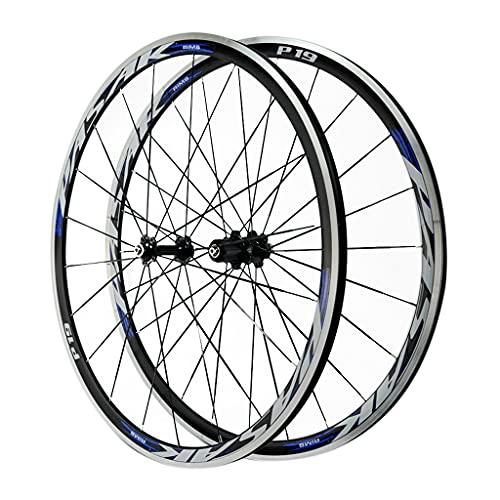 LICHUXIN Bicicleta Carretera Juego De Ruedas Freno C/V Liberación Rápida Juego de Ruedas Delanteras y Traseras de Bicicleta 700C Llantas de Bicicleta 7-12 Velocidad (Color : Blue, Size : 700C)