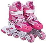 Rollers pour Enfants/Adolescents, à Taille réglable - roulis Avant Luminous - Rose S (30-34)