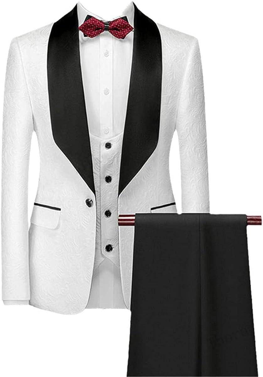 CACLSL Men's Wedding Suit White Jacquard with Black Satin Collar Tuxedo 3-Piece Jacket + Vest + Pants