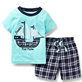 Toddler Boy Cotton Summer Blue Sailboat Short Sleeve Tee and Shorts Clothes Outfit Set 3t