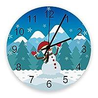 掛け時計 クリスマス 雪だるま 壁掛け時計 掛時計 静音 clock サイレント 壁時計 部屋 リビング 玄関 インテリア コンパクトサイズ 電池式 木掛け鐘 大数字 円形 贈り物 直径 30cm