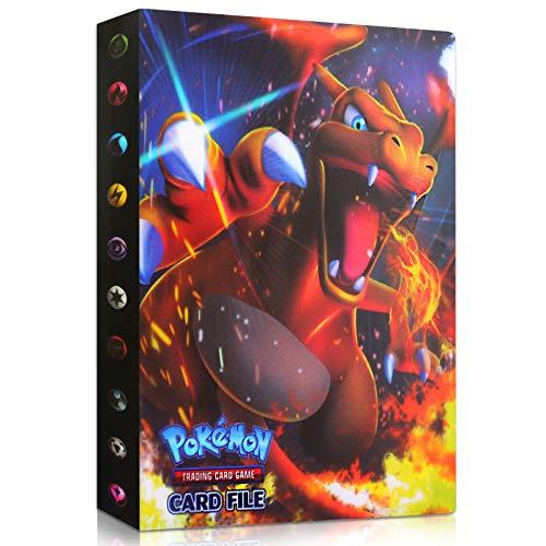 Sinwind Raccoglitore Carte Pokémon, Porta Carte Pokemon, Album per Carte Pokemon GX Ex, Pokemon Album Cartella Raccoglitore Libro 30 Pagine 240 capacità di Carte (Charizard)