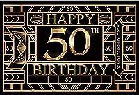 新しい2.1x1.5mVinyl誕生日の背景抽象的な背景50歳の誕生日の背景Fotografia子パーティーのための金の黒の背景