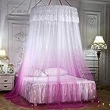 U/K Grangradado romántico Cúpula Mosquitera Net Cortina Princesa Cama Cuarcada Cordón Tienda Redonda Ropa de Cama, Rosa (Color : Pink)