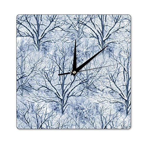 Mari57llis 30,5 x 30,5 cm quadratische Wanduhr, zeitlose Schätze Winterwanderung Bäume Holz Uhr, nicht tickende Uhr Raumdekoration