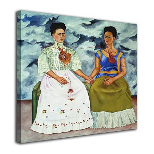 Cuadro Lienzo Las Dos Fridas Frida Kahlo– Varias Medidas - Lienzo de Tela Bastidor de Madera de 3 cm - Impresion en Alta resolucion (50, 50)