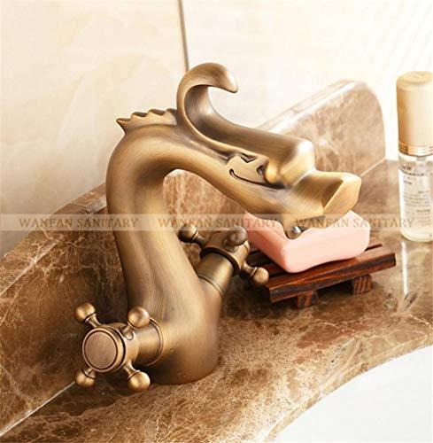 CZOOR Rubinetti per lavabo Drago Doppia maniglia a croce Placcatura in oro Vanità Decorazione domestica antica Rubinetteria bagno in ottone montato su piattaforma @Antique
