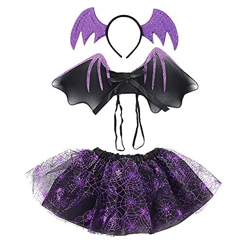 IMEKIS Falda Tut para Nias Disfraz de Halloween Navidad de Cosplay Araa Murcilago Reno Disfraz Elegante con Diadema Alas Accesorio de Hada Traje para Fiesta de Cumpleaos Prpura 3-8 aos