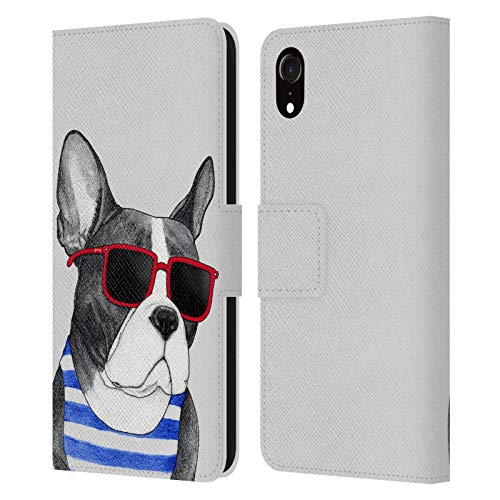 Head Case Designs Officially Licensed Barruf Frenchie Summer Style Dogs Leather Book Wallet Case Cover Compatible with Apple iPhone XR