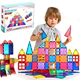 ROUSKY 120Pcs Magnet Toys Kids Magnetic Building Tiles 3D Magnetic Blocks Preschool Building Sets Educational Toys for Toddlers Boys and Girls