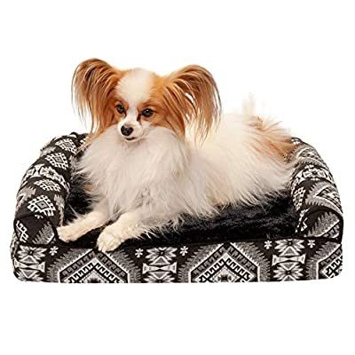 Furhaven Pet Dog Bed - Cooling Gel Memory Foam Plush Kilim Southwest Home Decor Traditional Sofa-Style Living Room Couch Pet Bed with Removable Cover for Dogs and Cats, Black Medallion, Small