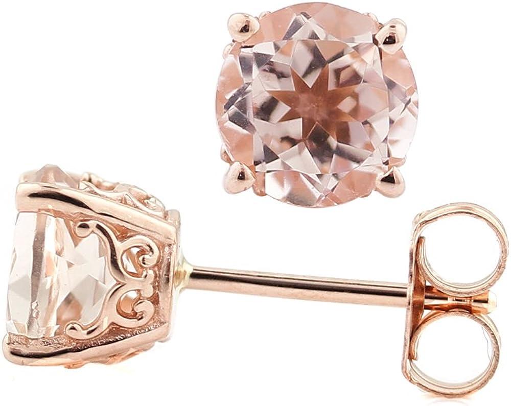 Solid 14k Rose Gold Morganite Stud Earrings