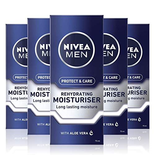 NIVEA MEN Rehydrating Face Moisturiser Protect & Care (75 ml), Hydrating Face Moisturiser, Mens Moisturiser Soothes Dry Skin, Rehydrating and Caring Moisturiser, Pack of 2