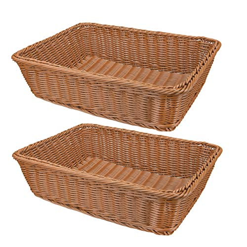 Yarlung 2 Pack Poly Wicker Woven Bread Basket, 16 Inch Rectangular Fruit Baskets Food Serving Holders for Vegetables, Home, Kitchen, Restaurant, Outdoor, Imitation Rattan Brown