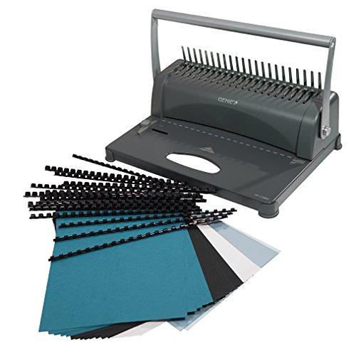 Genie CB 850 - Encuadernadora, hasta 350 hojas, DIN A4, incluye juego de 75 piezas, color plata y negro