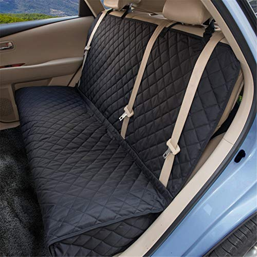 ZQ Dog Car Seat Covers - Nonslip Rear Seat Cover for Pets Waterproof Pet Bench Seat Cover with Middle Seat Belt Capable for Cars, Trucks and SUVs