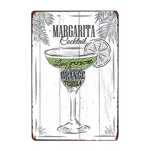 Topdo 1pcs Poster M/étallique Affiche Peinture Art D/écoratif Vintage pour Bar Caf/é Pub Vintage Poster Mural r/étro Plaque en m/étal Bar Pub 20 30cm Margarita