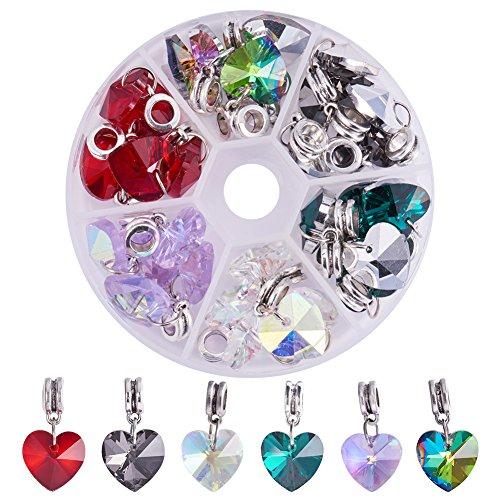PandaHall Elite & reg Legierung europäischen baumeln Perlen, großes Loch Anhänger, mit galvanisiertem Glas Herz Anhänger, Antik Silber