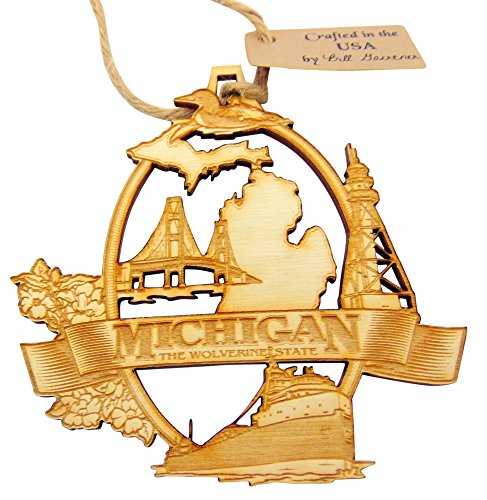 Westmon Works Michigan Wooden Christmas Ornament Handmade in The USA