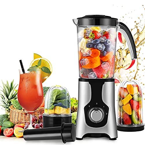 Rotemion Standmixer Mixer Smoothie Maker 220W Power Standmixer mit 2 Extraktor-Klinge und 1L Kunststoffbehälter, 2 Geschwindigkeiten+Pulse, Ice crush Funktion, für Smoothies und Getränk und Gemüse