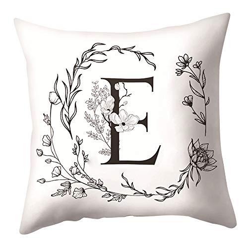 Rosepoem Funda de almohada suave con letra del alfabeto Funda de cojín personalizable, diseño floral, 45 x 45 cm, para cama sofá o decoración del hogar E