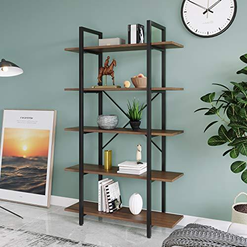 Elliroman Estantería de pie para libros, 4 – 5 niveles, estantería para salón, estantería de diseño industrial, fácil de montar, adecuada para salón, dormitorio, oficina, vintage, marrón