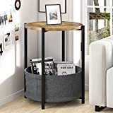 Amolife Round End Table/Sofa Side Table with Fabric Storage Basket for Living Room/Small Coffee Table / 24'' Round Bedside Table with Rustic Wood Top and Black Metal Frame/Industrial Nightstand, Brown