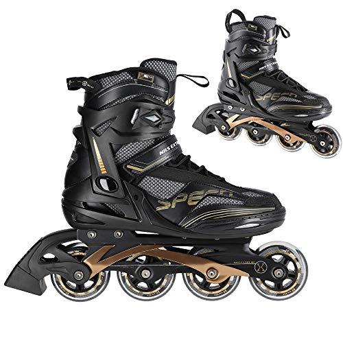 Nils Extreme Herren Damen Inliner Inlineskates | 82A Rollen | ABEC9 Chrome Kugellager | Unisex Fitness Skates für Erwachsene |Schwarz (46)