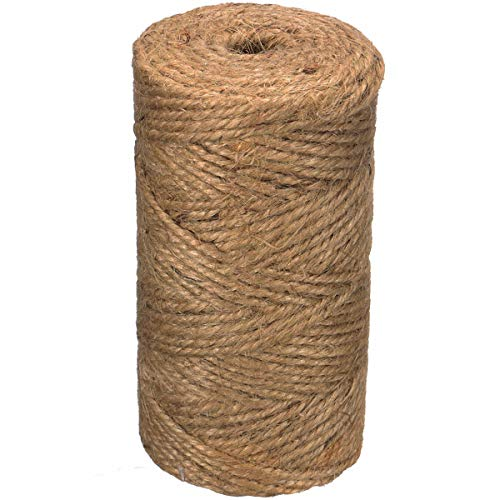Awefrank Natural Jute Twine 328 Feet Rustic Jute Rope for Arts and Crafts, Gift Wrapping, Packing, Christmas Decoration and Gardening Applications