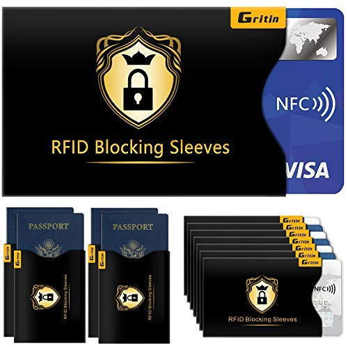 Bloqueo RFID, Gritin 18-Paquetes Protectores de Bloqueo para Tarjetas de Credito, Pasaporte,Débito, Identificaciones y Pasaporte [14 Protectores de Tarjeta Credito & 4 Protectores de Pasaporte]
