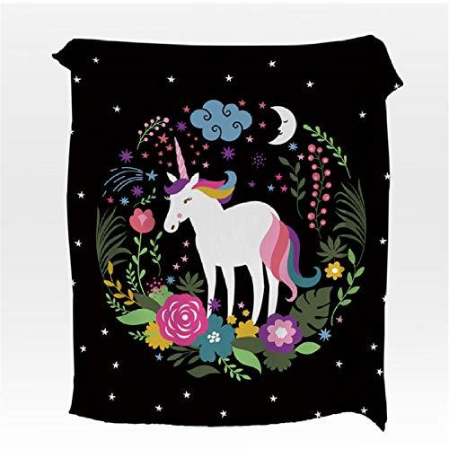 Xzfddn - Manta de franela con estampado floral de unicornio, para cama de niños, sofá y sábana de arco iris suave